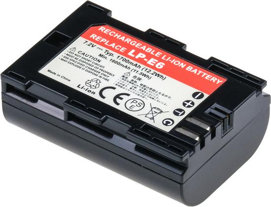 Baterie T6 power Canon LP-E6, 1620mAh, šedá