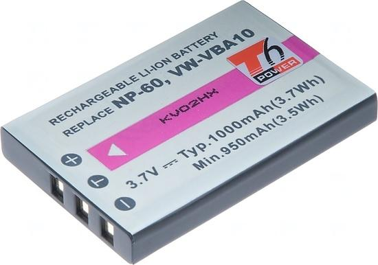Baterie T6 power NP-60, KLIC-5000, NP-30, LI-20B, 1000mAh, černá