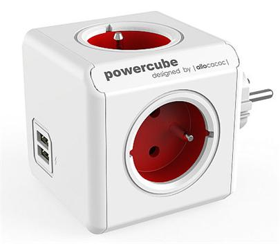 Zásuvka PowerCube ORIGINAL USB, Red, 4 rozbočka, 2x USB