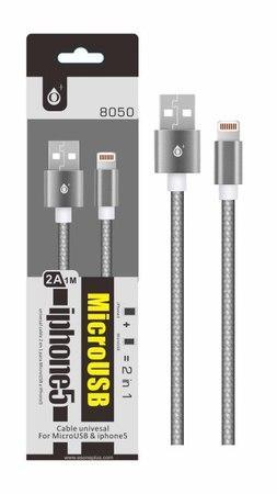 Aligator datový a nabíjecí kabel PLUS 8050 univerzální pro konektory micro USB a Lightning