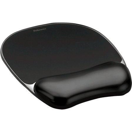 """Podložka pod myš s gelovou opěrkou zápěstí, FELLOWES """"Crystals Gel"""", černá, 9112101"""
