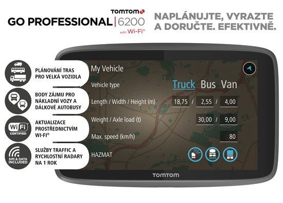 Navigace TomTom GO Professional 6200 EU, LIFETIME mapy