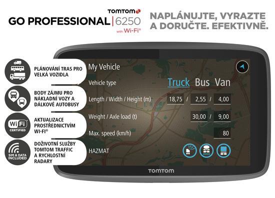 Navigace TomTom GO Professional 6250 EU, LIFETIME mapy