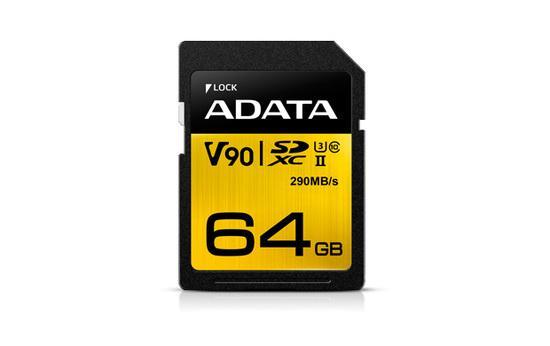 ADATA SDXC karta 64GB UHS-I U3 Class 10, Premier One (R: 290MB / W: 260MB)