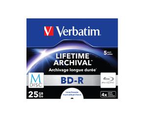 Disk Verbatim BD-R M-Disc 25GB, 4x, printable, jewel box, 5ks, 43823