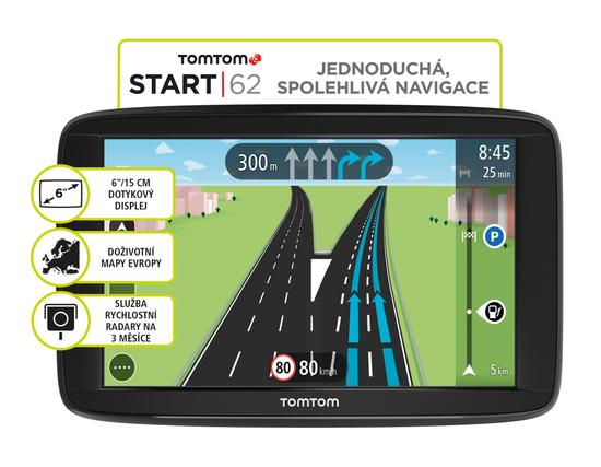 Navigace TomTom START 62 Europe, LIFETIME mapy