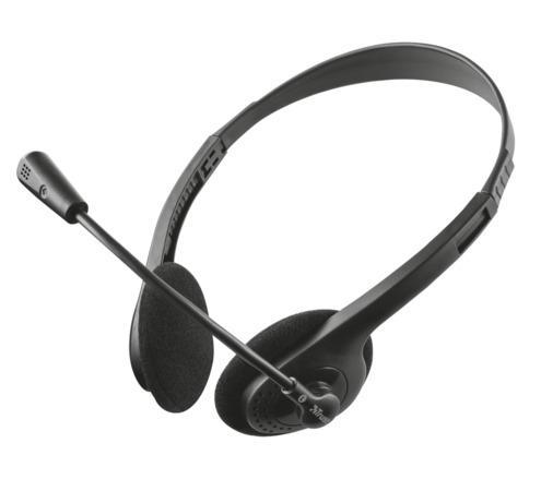 """Sluchátka """"Ziva Chat"""", černá, s mikrofonem, drátová, 3,5 mm jack, TRUST"""
