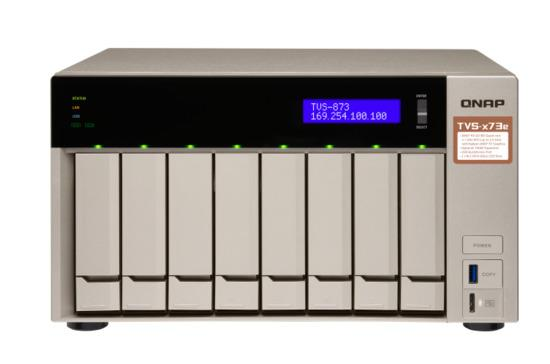 "QNAP TVS-873e-8G Turbo NAS server, AMD RX-421BD QC 2.1 GHz/8GB/RAID 0,1,5,6,10/4xGL/8x 2.5/3.5"" SATA II/III HDD/SSD"