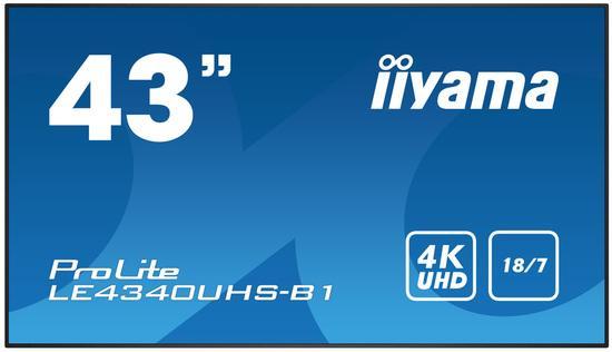 "43"" iiyama LE4340UHS-B1 - AMVA3,4K UHD,8.5ms,350cd/m2, 5000:1,16:9,VGA,HDMI,DVI,USB,RS232,RJ45,repro, LE4340UHS-B1"