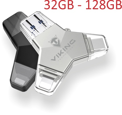 Viking USB Flash disk 3.0 4v1 s koncovkou Lightning/Micro USB/USB/USB-C, 64 GB, černá