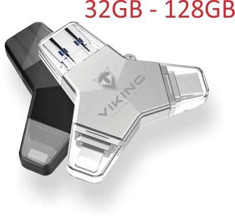 Viking USB Flash disk 3.0 4v1 s koncovkou Lightning/Micro USB/USB/USB-C, 64 GB, stříbrná, VUFII64S
