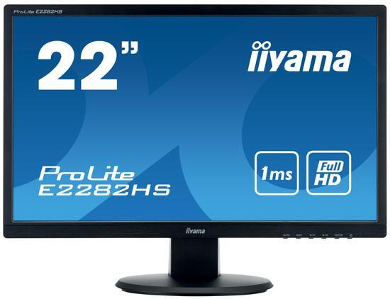 "22"" iiyama E2282HS-B1 - TN,FullHD,1ms,250cd/m2, 1000:1,16:9,VGA,DVI,HDMI,repro., E2282HS-B1"