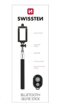 Selfie tyč s ovladáním SWISSTEN pro mobilní telefony, 3,5mm Jack, černá, 32000200