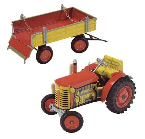 Kovap Traktor Zetor s valníkem, červený, zelený plastová kola