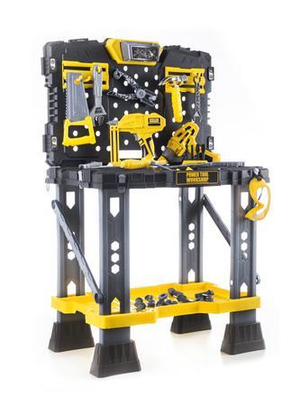 Dětské nářadí G21 pracovní stůl s nářadím žluto-šedý