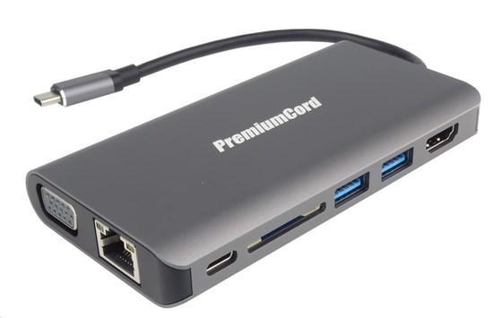 PREMIUMCORD Převodník USB3.1 typ C na HDMI+VGA+RJ45+2xUSB3.0+SD card +3,5mm+PD charge