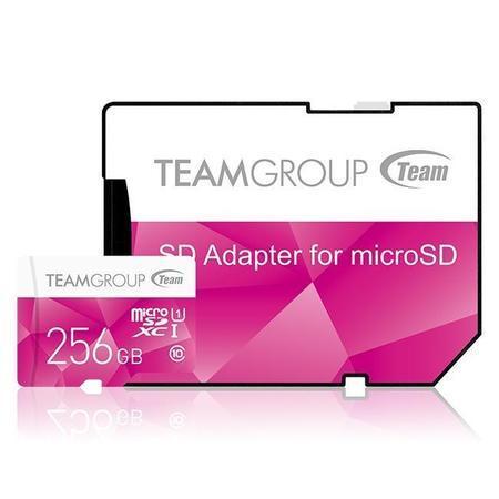 Team Group Paměťová karta 256GB micro SDXC UHS-I + SD adaptér růžová