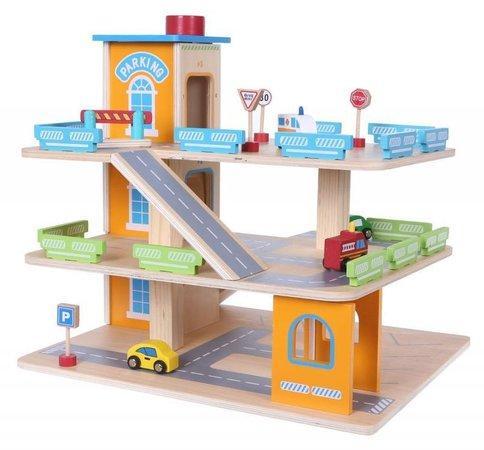 ECOTOYS Dřevěná patrová garáž s výtahem a příslušenstvím