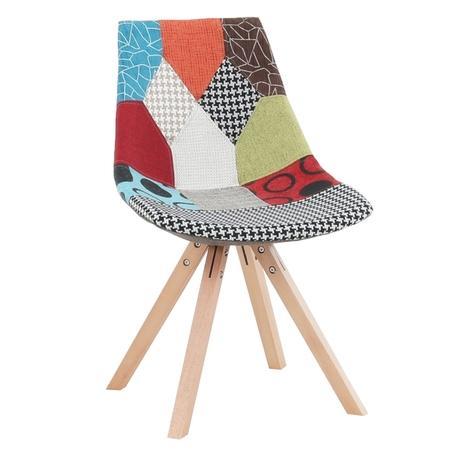 Tempo Kondela Židle, látka patchwork / dřevo, KIMA NEW TYP 1