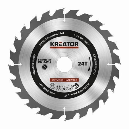 Pilový kotouč Kreator KRT020420 na dřevo 210mm, 24T