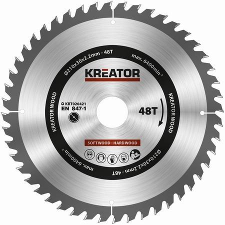 Pilový kotouč Kreator KRT020421 na dřevo 210mm, 48T