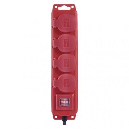 Kabel prodlužovací 3 m/250 V, 4 zásuvky, červený