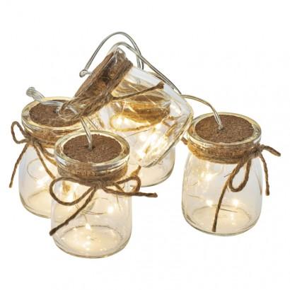 LED girlanda – 5× skleničky, 3×AA, teplá bílá, čas.