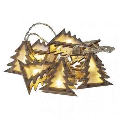 LED girlanda – stromky 3D, 2×AA, teplá bílá, časovač