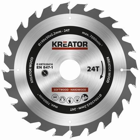 Pilový kotouč Kreator KRT020416 na dřevo 190mm, 24T