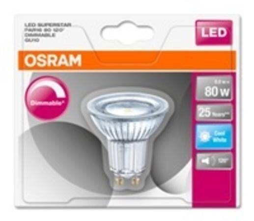 Osram LED žárovka 4058075036932 230 V, GU10, 7.2 W = 80 W, neutrální bílá, A A++ - E, reflektor, stmívatelná