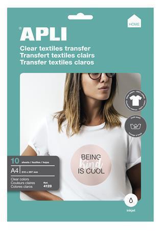 Nažehlovací fólie, pro inkoustové tiskárny, na bílá trička, APLI, bal. 10 ks, 04128