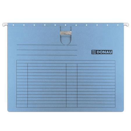 Závěsné desky, s rychlovazačem, modré, karton, A4, DONAU, bal. 25 ks, 7430001PL-10