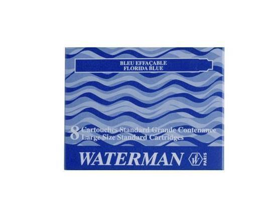 Inkoustové bombičky do plnicího pera, modrá, WATERMAN, box 8 ks