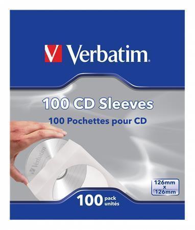 Obálky na CD, papírové, s okénkem, VERBATIM, bílé, bal. 100 ks