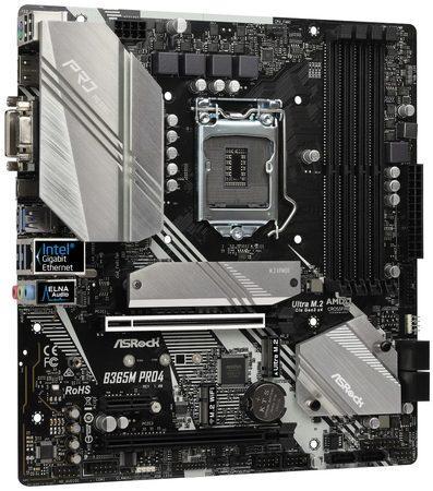 ASROCK MB B365M PRO4 (intel 1151v2 coffee lake, 4xDDR4 2666MHz, VGA+DVI +HDMI, USB3.1, 6xSATA3 + 2xM.2, 7.1, GLAN, mATX) pouze pro intel coffee lake, B365M PRO4