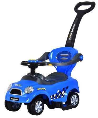 ECOTOYS Dětské odrážedlo se zvuky a vodící tyčí Auto modré