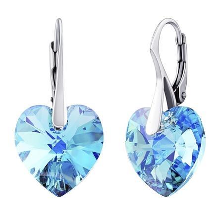 SILVEGO stříbrné náušnice Srdce 14mm Aquamarine AB se Swarovski(R) Crystals