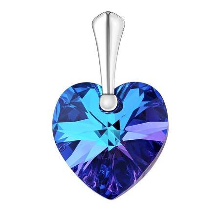 Silvego stříbrný přívěseke Srdce Heliotrope se Swarovski Crystals LSW007P