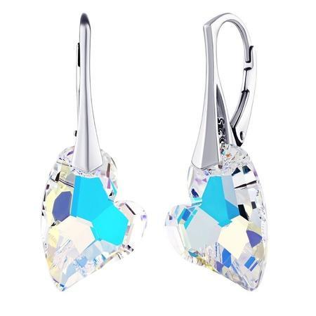 Silvego náušnice srdce Crystal AB se Swarovski Elements LSW125E