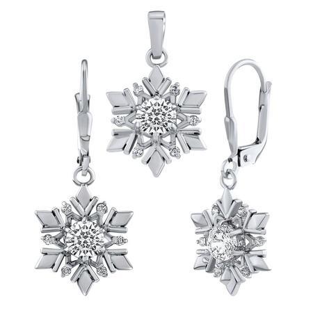 Set stříbrných šperků náušnice a přívěsek sněhová vločka JJJS0813C