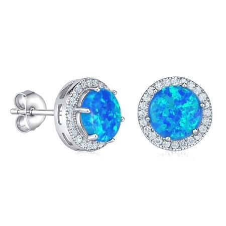 Stříbrné náušnice s modrým opálem
