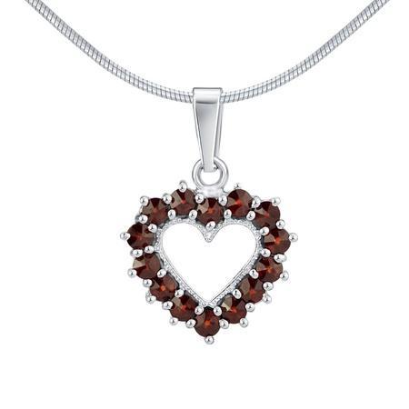 Silvego Stříbrný přívěsek s přírodními granáty ve tvaru srdce SILVEGOB180012