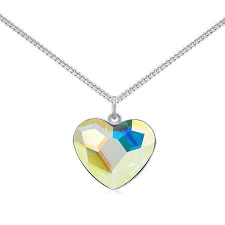 Silvego Stříbrný náhrdelník se Swarovski Crystals srdce Aurora Boreale VSW060N