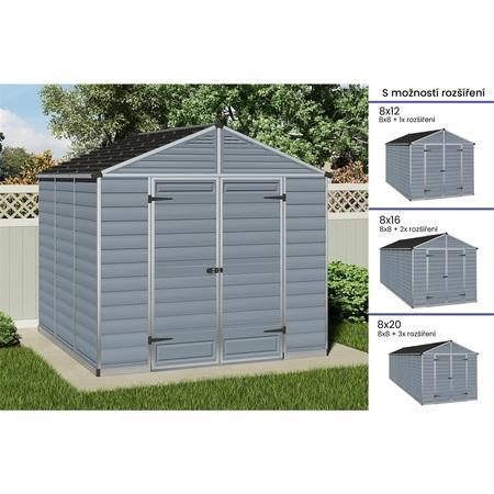 Palram Skylight série 8 šedý zahradní domek 8x8 s možností prodloužení