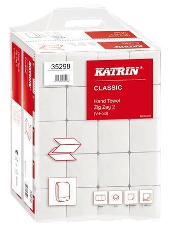 Papírové ručníky, bílá, skládané, dvouvrstvé, 200 ks, KATRIN, karton 20 ks