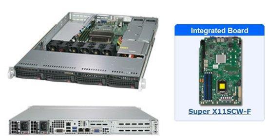 "SUPERMICRO 1U server 1x LGA1151-8/9g, iC246, 4x DDR4 ECC, 4x 3.5"" HS SATA3, 2x500W (80+ Platinum), IPMI, WIO, SYS-5019C-WR"