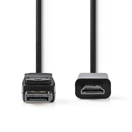 Nedis CCGB37100BK20 - DisplayPort – HDMI Kabel | DisplayPort Zástrčka - HDMI Konektor | 2 m | Černá barva