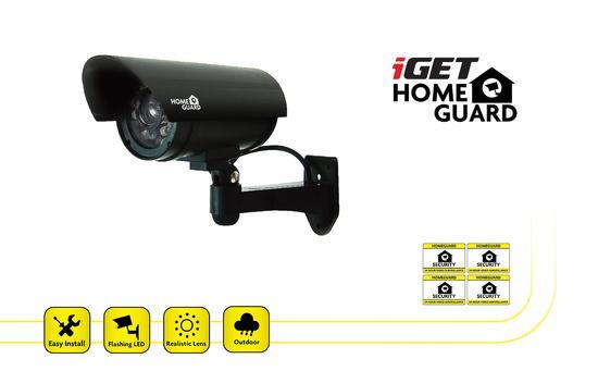iGET HGDOA5666 - atrapa/maketa bezpečnostní CCTV kamery, blikající črv. LED,4x nálepka CCTV varování