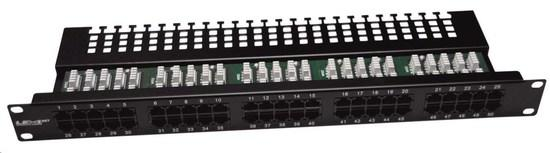 "19"" Patch panel LEXI-Net telefonní 50port, UTP, Cat3, krone, černý, PATCHP50P"