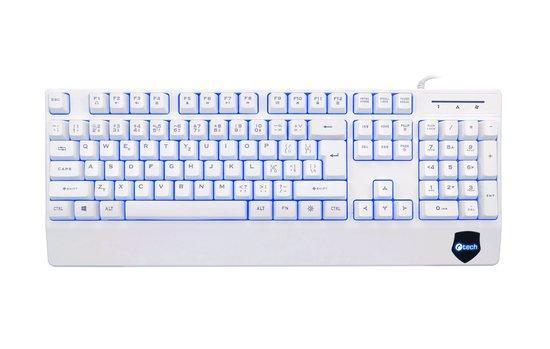 C-TECH klávesnice KB-104W, USB, 3 barvy podsvícení, bílá, CZ/SK, KB-104W
